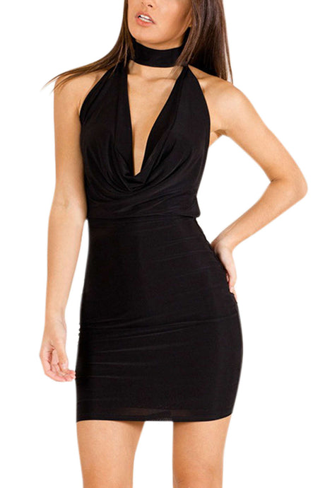 Iyasson Halterneck V-neck Open Back Sexy Club Dress