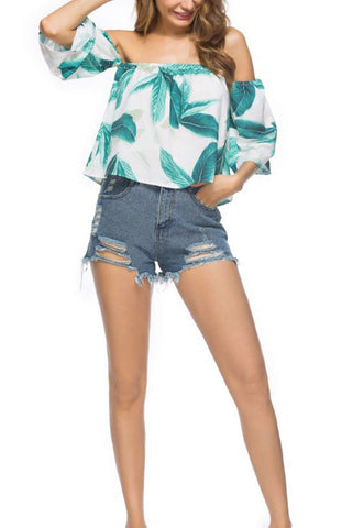 Iyasson Off Shoulder Flared Cuffs Tropical Printing Tops