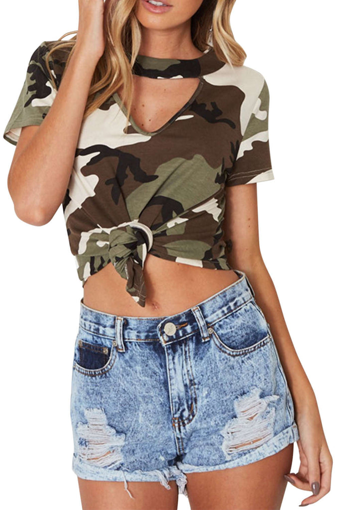 Iyasson Hollow-out V-neck Tie Front Camo T-shirt