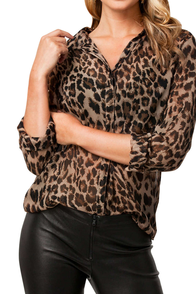 Iyasson Leopard Print Long Sleeve Casual Chiffon Blouse