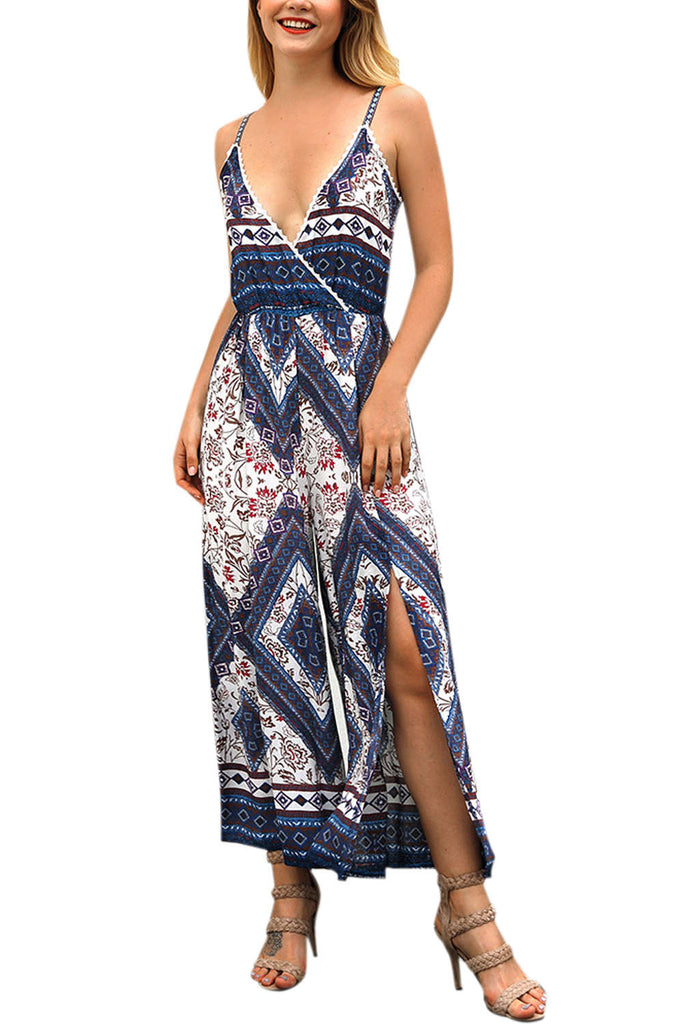 Iyasson Bohemian Floral Maxi Jumpsuit