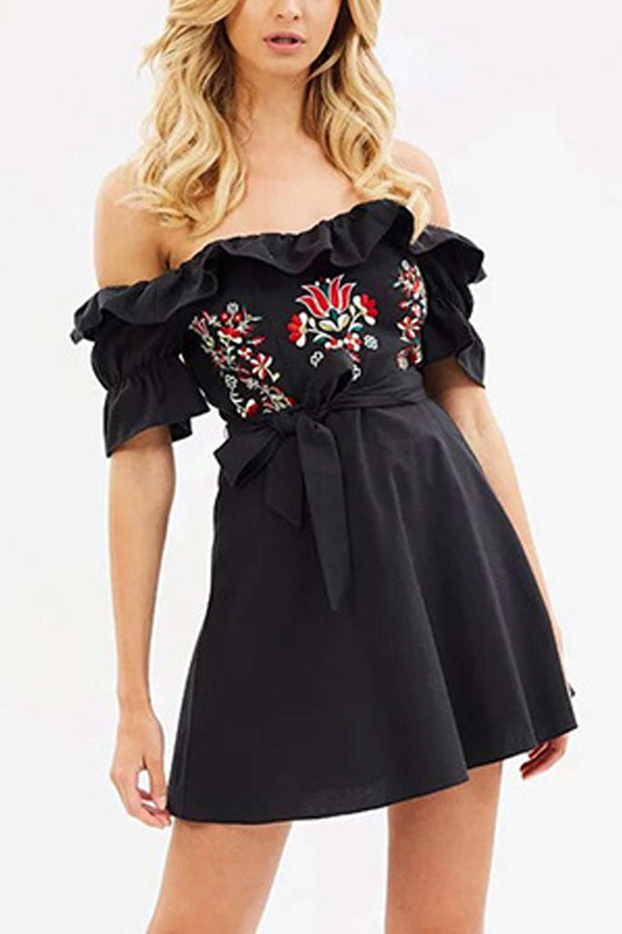 Iyasson Off Shoulder Floral Embroidery Shirred Sides Dress