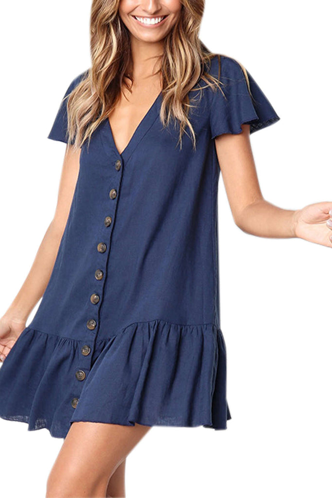 Iyasson Frill Hem Button Through V-neck Dress