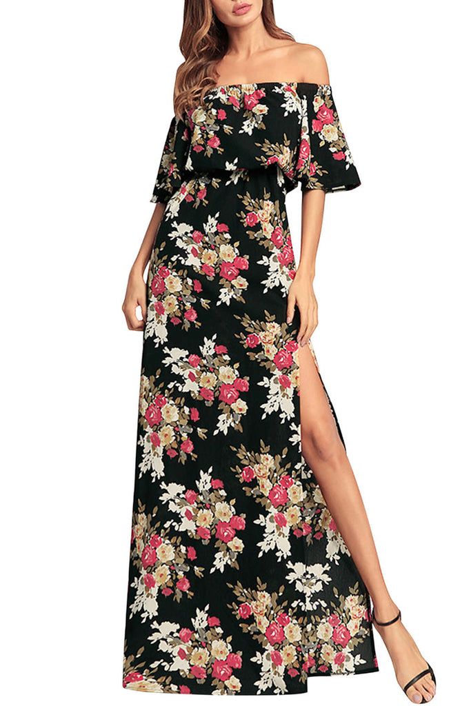 Iyasson Floral Off Shouler Maxi Dress