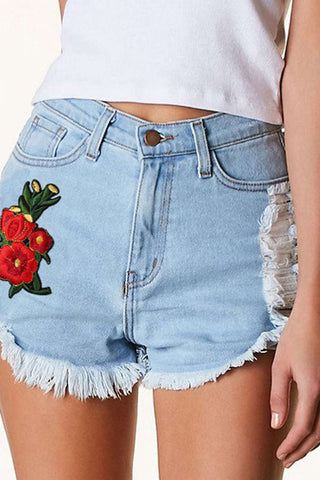 Iyasson Rose Embroidery Denim Shorts