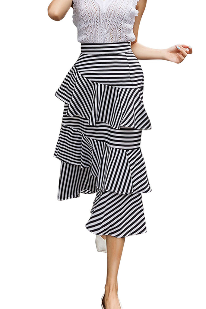 Iyasson Striped Tiered Ruffled Long Skirt
