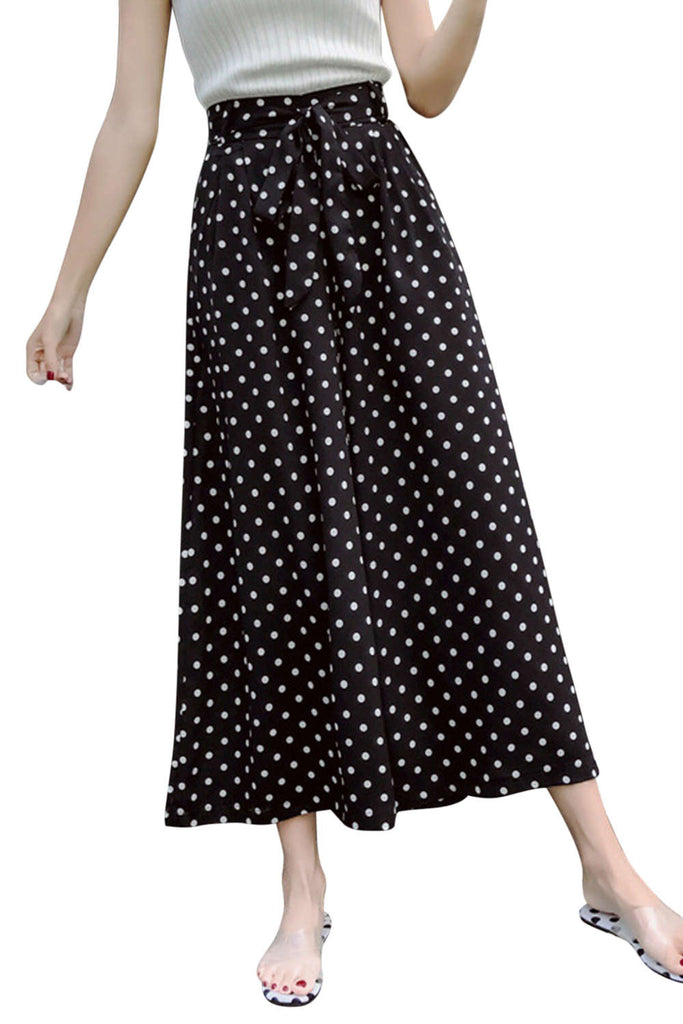 Iyasson Pindot Printing Wide Leg Pants
