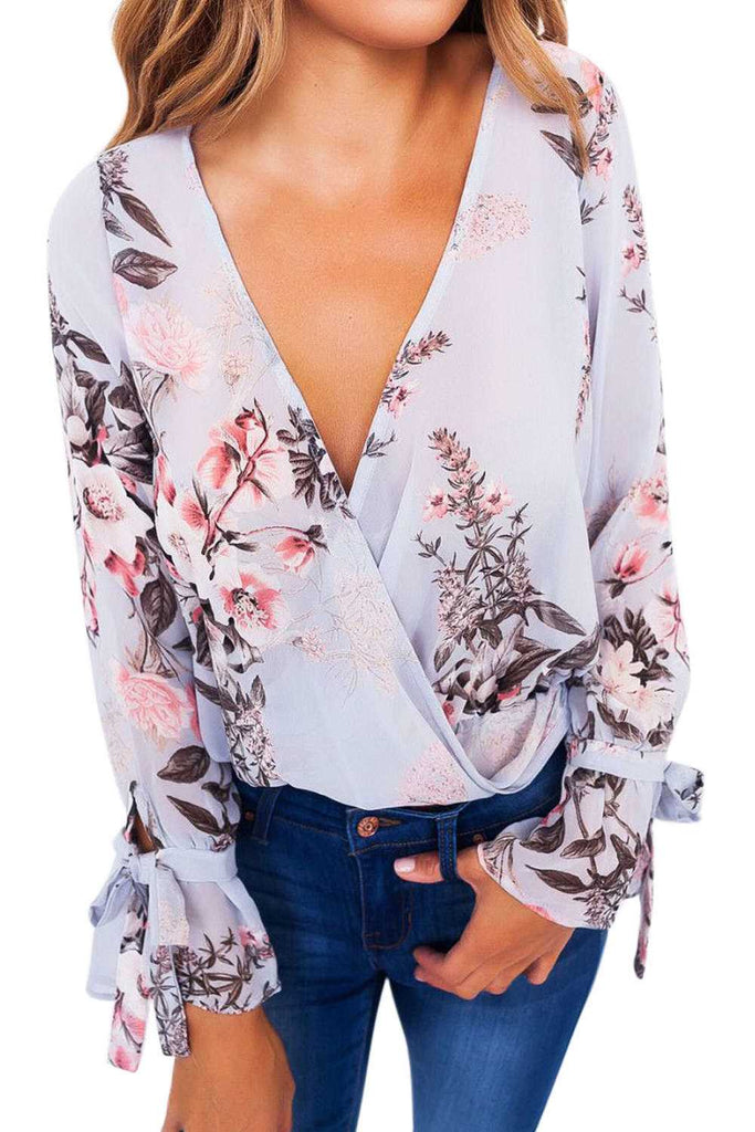 Iyasson Floral Printing V-neck Flutter Banded Sleeves Top