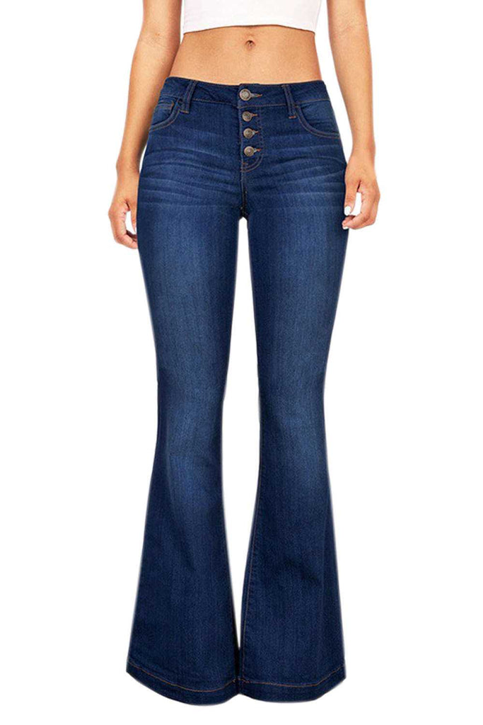 Iyasson Woman's Skinny Bell-bottom Pants Jeans