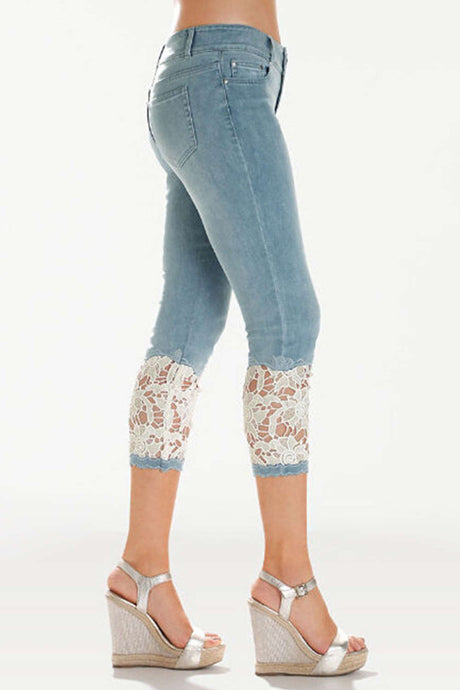 Iyasson White Lace Trim Splicing Skinny Jeans