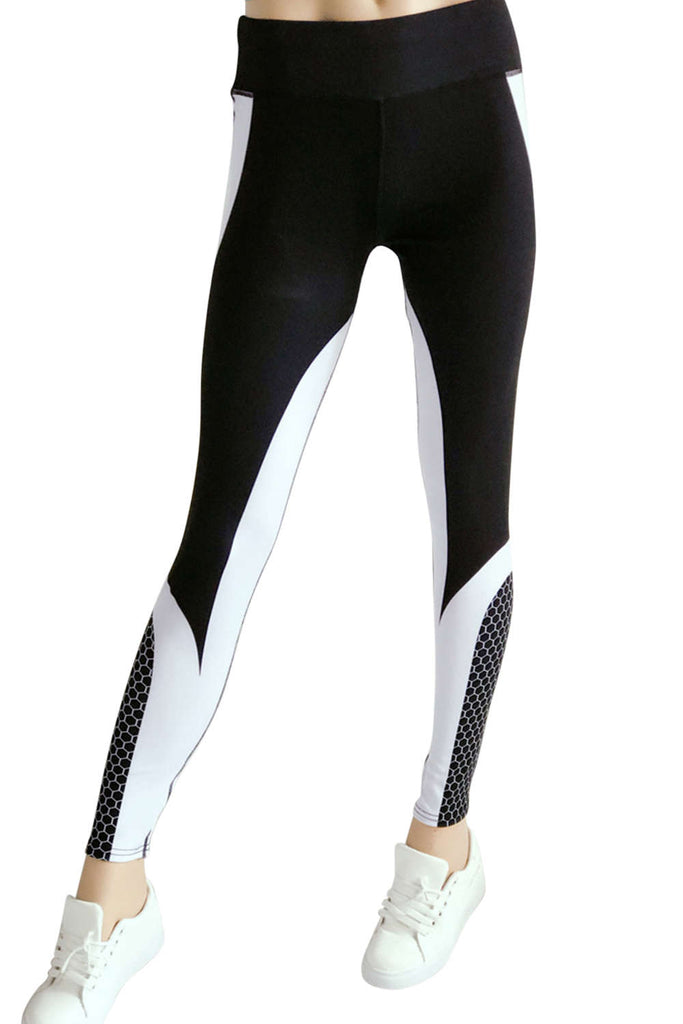 Iyasson Color-block Splicing Skinny Leggings