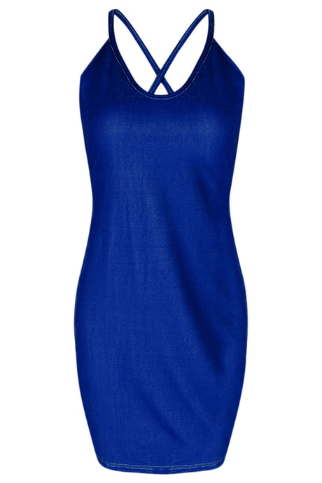 Iyasson Women's Sexy Velvet Spaghetti Strap Bodycon Dress