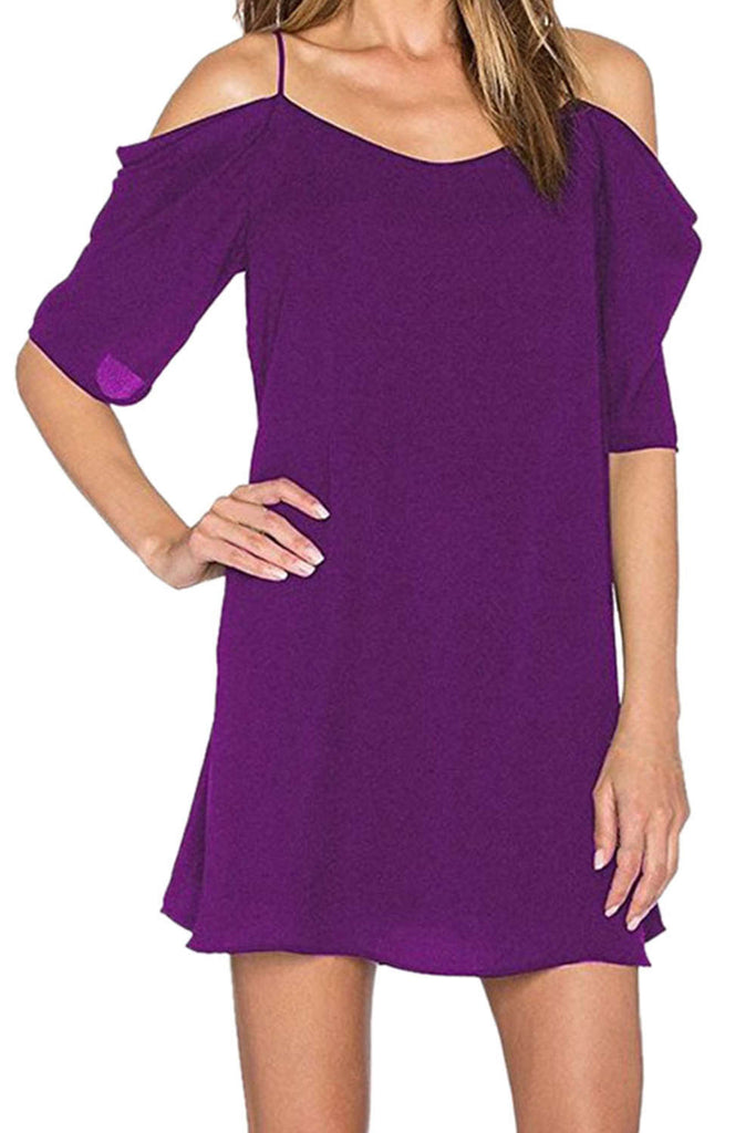 Iyasson Cold Shoulder A-Line Mini Dress