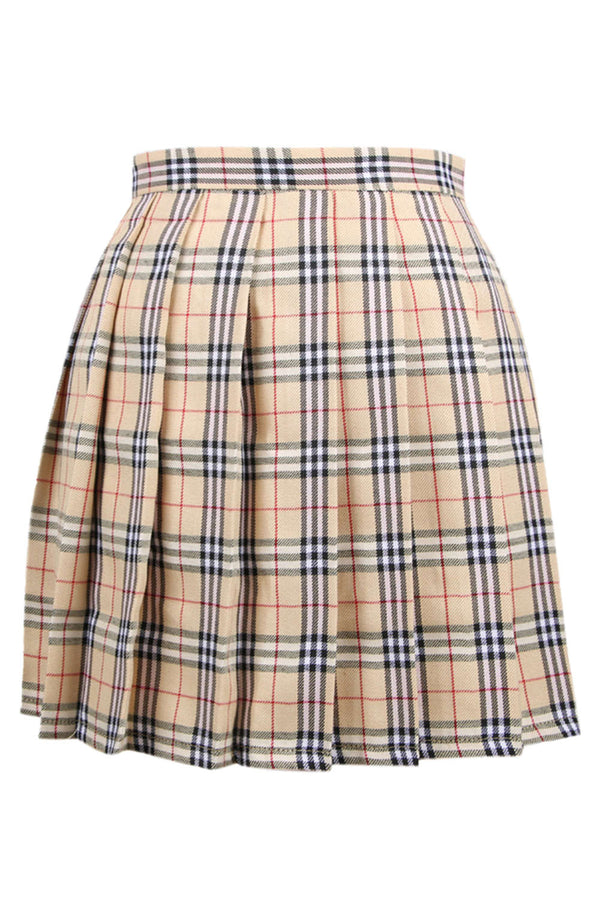 Iyasson Women Petite Pleated Check Mini Skirt