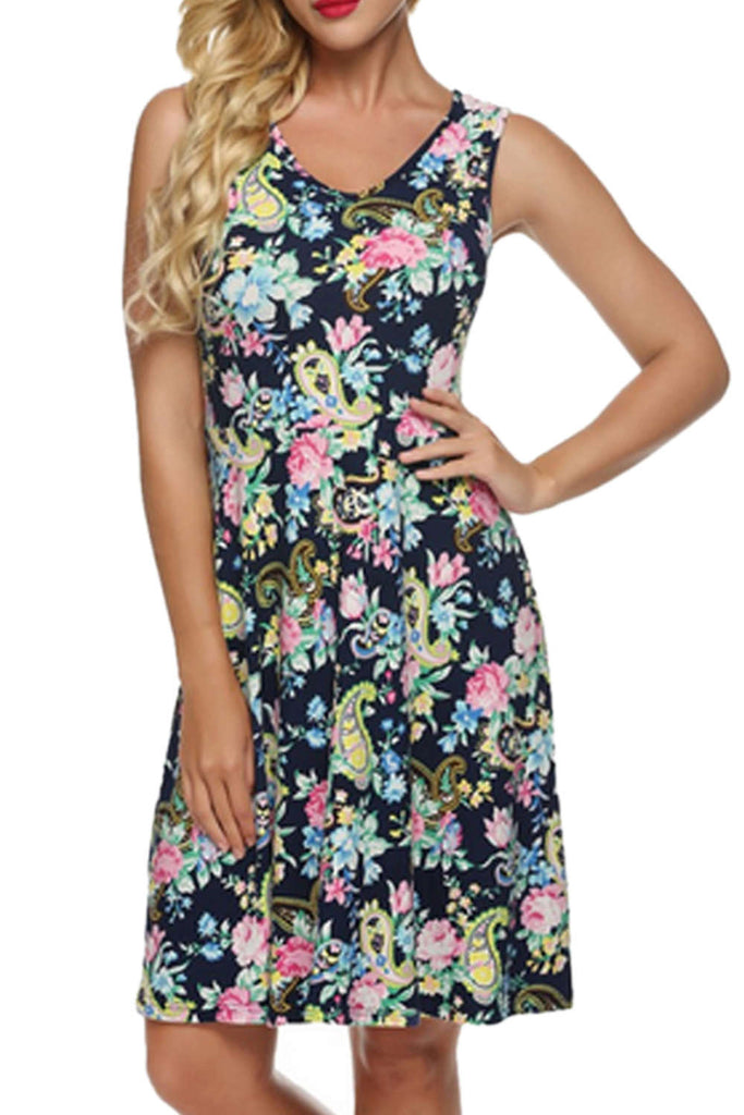 Iyasson Vintage Floral Sleeveless A-line Mini Dress