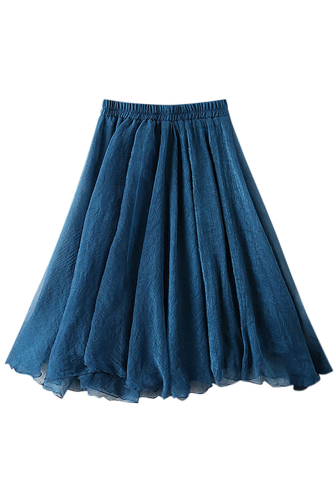 Iyasson Elastic Waist Pleated Flare A-line Skirt