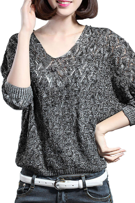 Iyasson Long Sleeve Loose Pullover Knitted Sweater