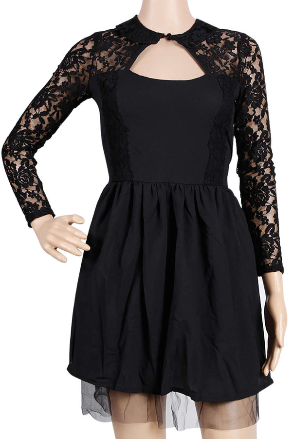 Iyasson Black Lace Splicing Long Sleeve Puff Mini Drss