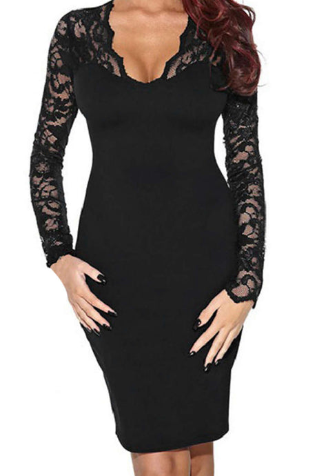 Iyasson Sexy Lace Long Sleeve Bodycon Dress
