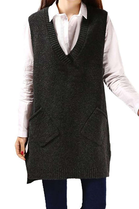 Iyasson Womens V-Neck Sleeveless Pullover Long Sweater Vest