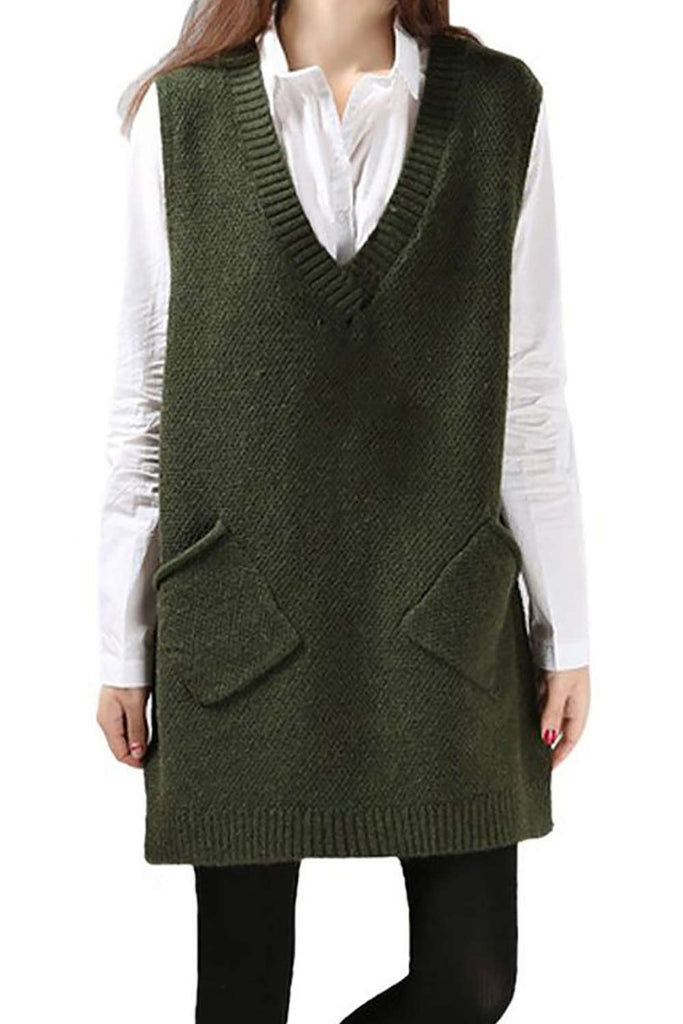 Iyasson Womens V Neck Sleeveless Pullover Long Sweater Vest