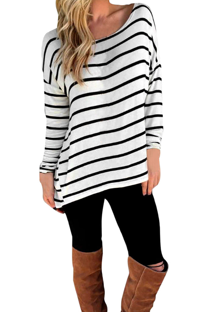 Iyasson Women's Scooped Neckline Striped Casual T-Shirt