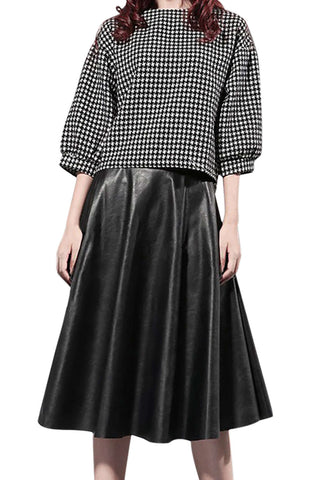 Iyasson Women Winter Faux Leather High Waist Pleated Skirt