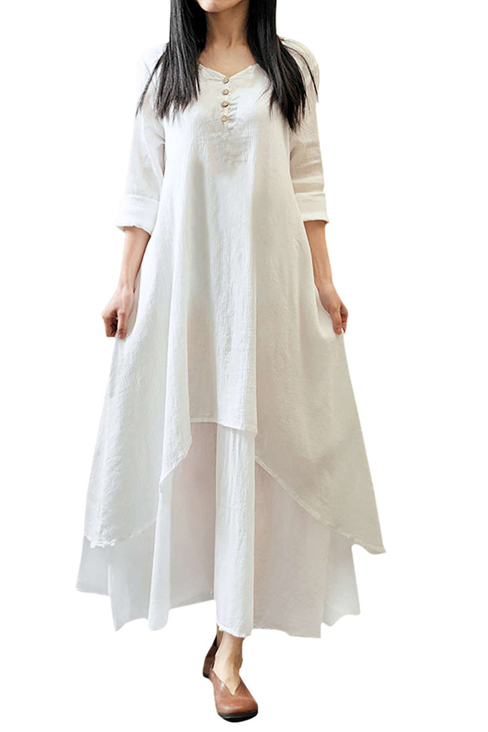 Iyasson Half Sleeve Asymmetric Wide Hem Maxi Tunic Dress