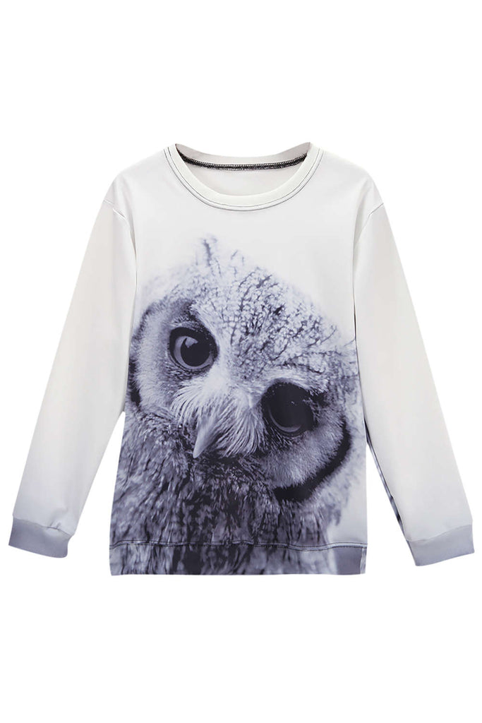 Iyasson Cute Owl Print Long Sleeve Sweatshirt