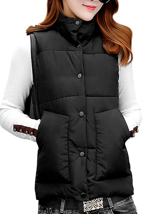 Iyasson Womens Front Button Vest Coat