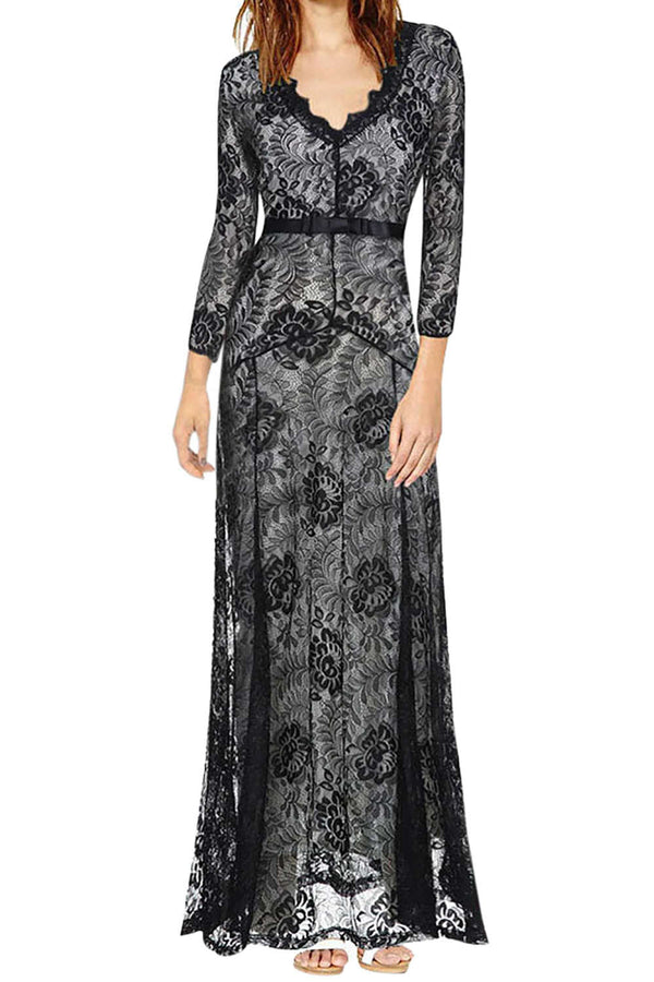 Iyasson Women's Floral Lace Long Bridesmaid Maxi Dress
