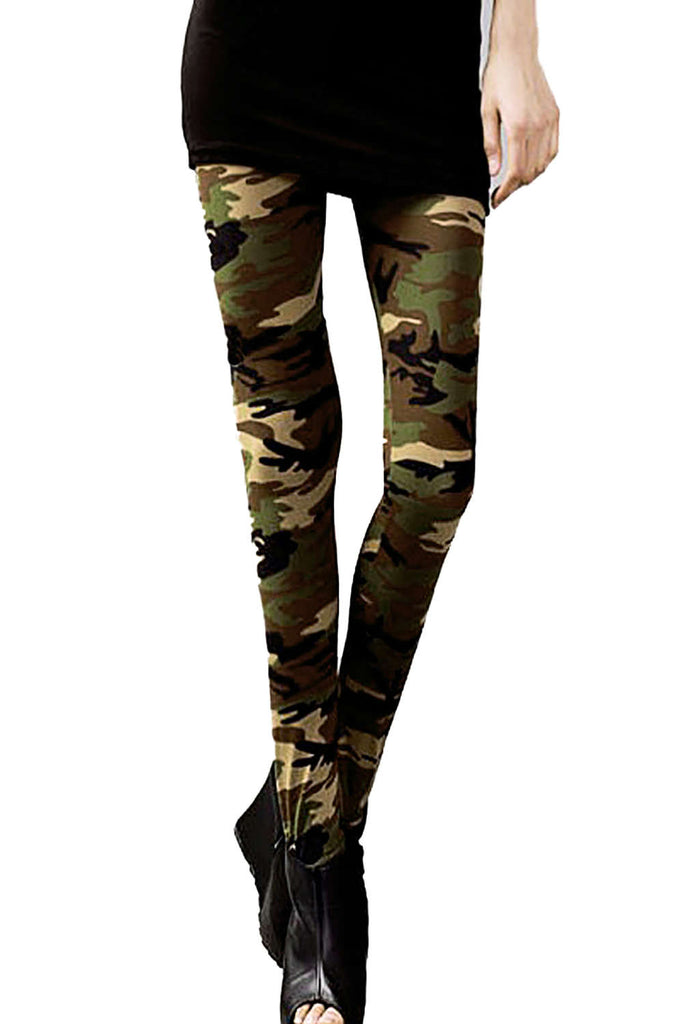 Iyasson Women's Camo Print High-Rise Leggings