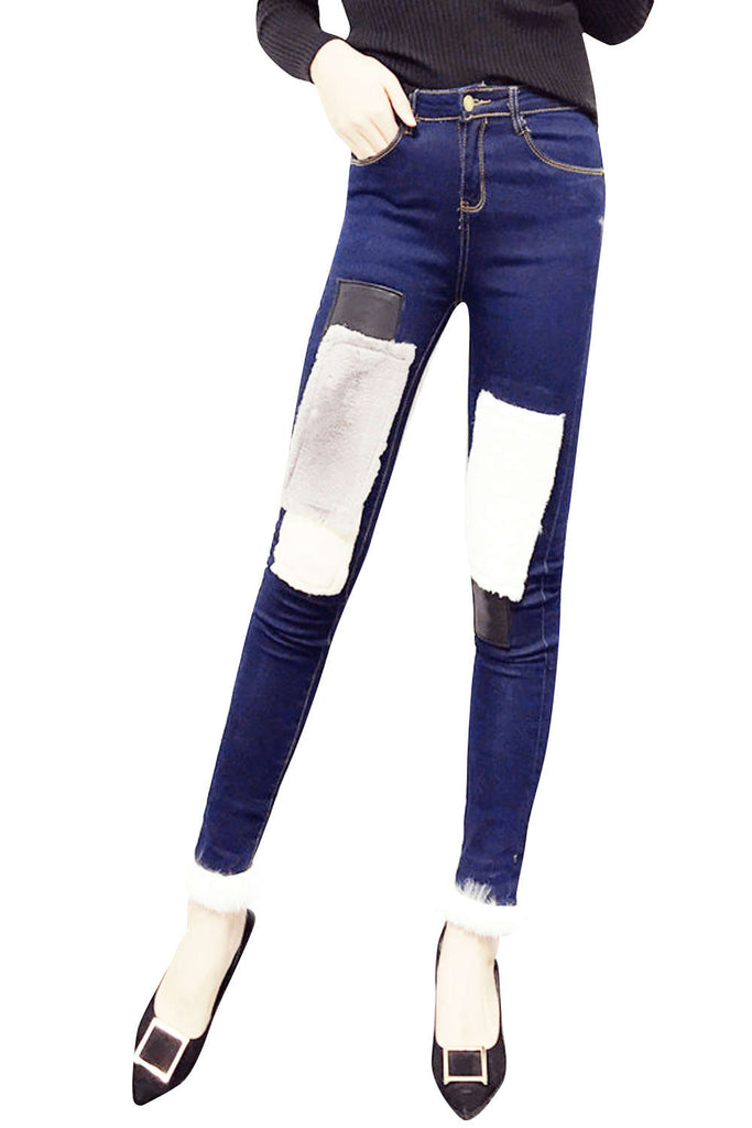 Iyasson Women's Winter Slim Fit Thermal Jeans Pants