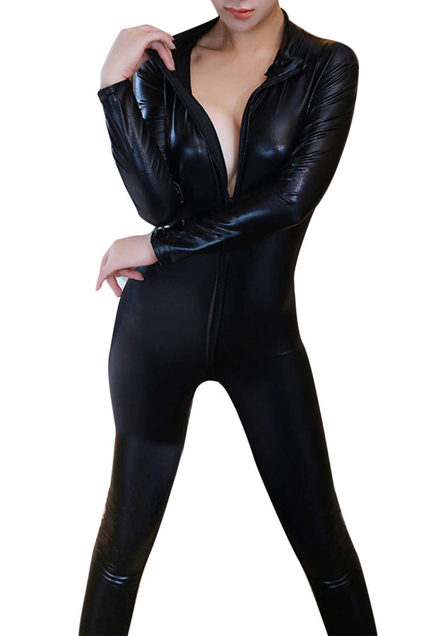 Iyasson Womens Black Costumes Wet Look Zipper Front Cat Suit Sexy Lingerie Open the crotch