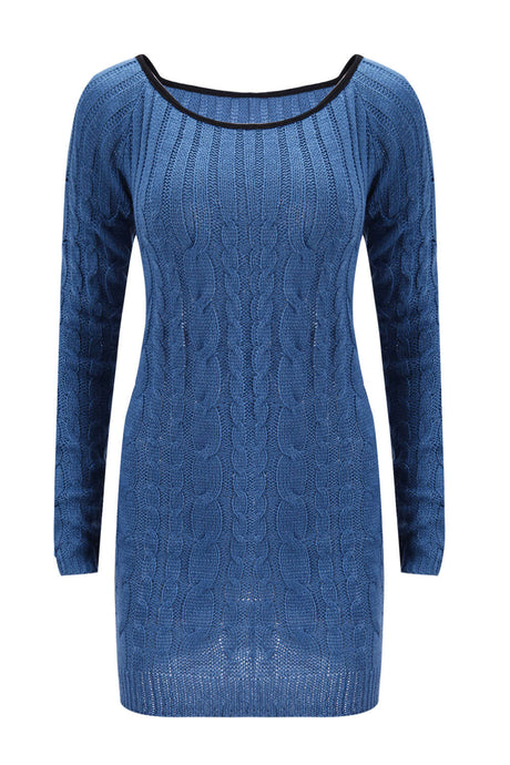 Iyasson Womens Long Sleeve Cowl Polo Neck Cable Knitted Jumper Mini Dress