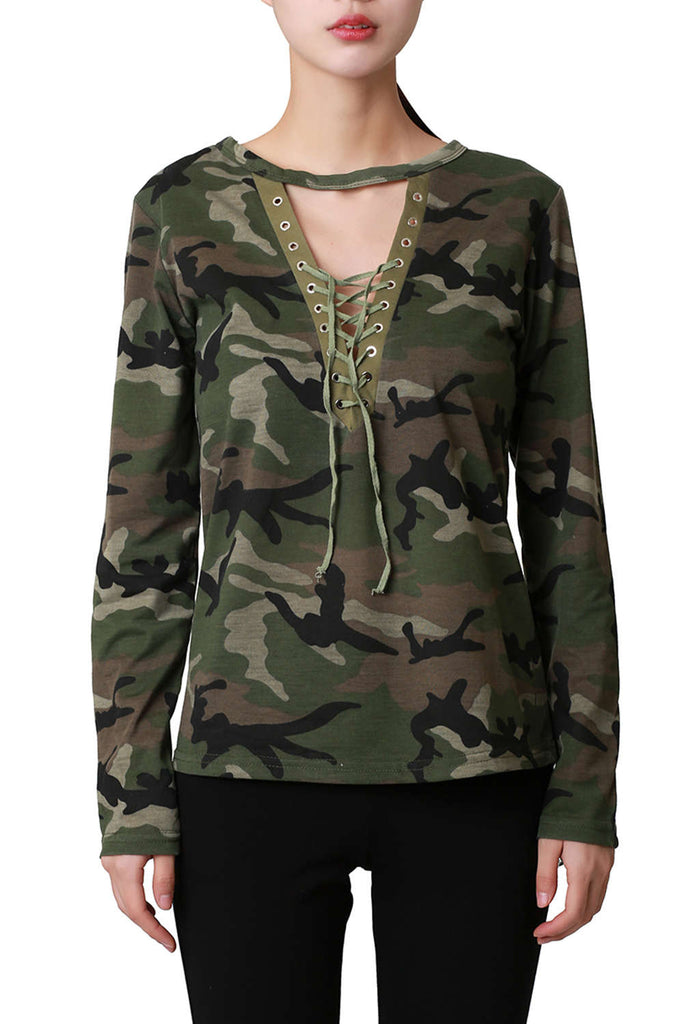Iyasson Fashion Women's Long Sleeve Camouflage Print Tops