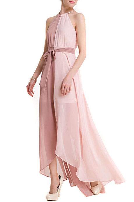 Iyasson Womens Casual Summer Beach Party Chiffon Maxi Dress