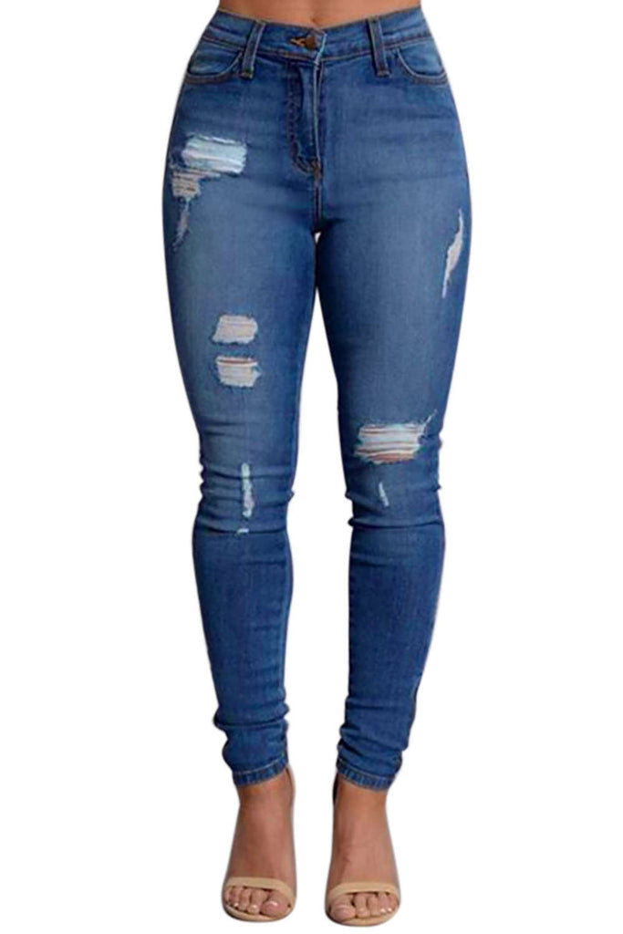 Iyasson Womens Skinny Ripped Straight Leg Jeans