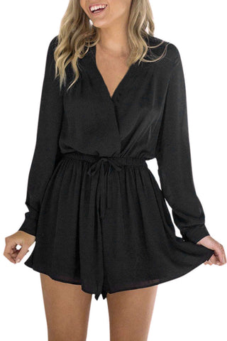 Iyasson Cross V neck Solid Color Romper