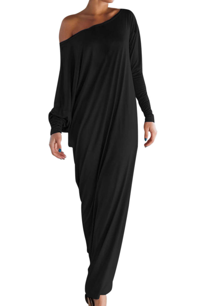Iyasson Long Sleeve One Shoulder Maxi Dress