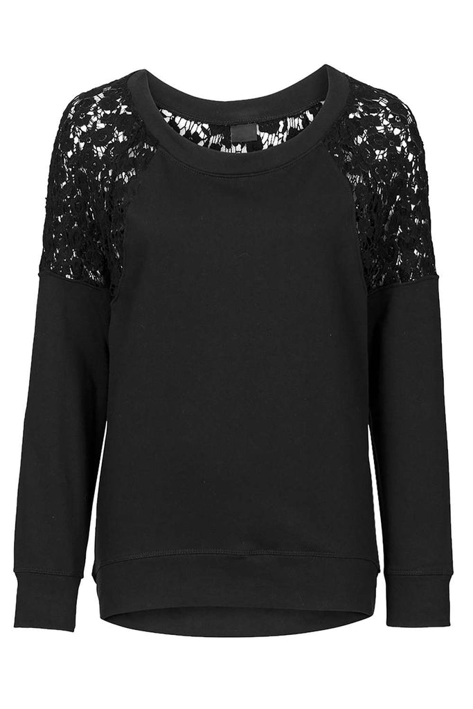 Iyasson Long Sleeve Round Neck Lace Splicing Top