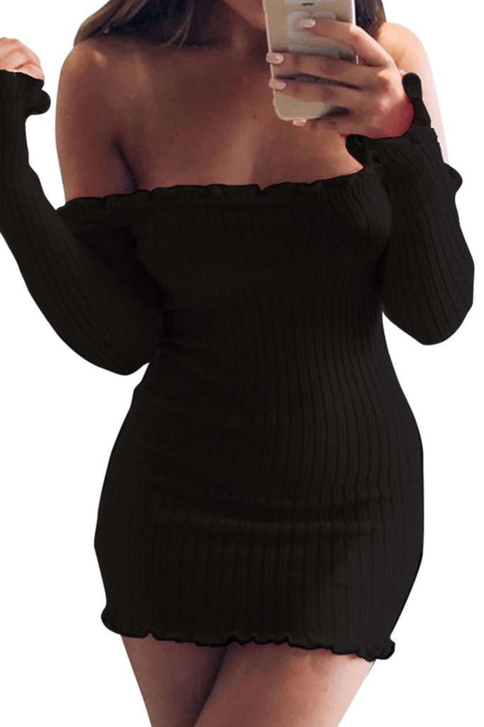 Iyasson Sexy Off Shoulder Bodycon Dress