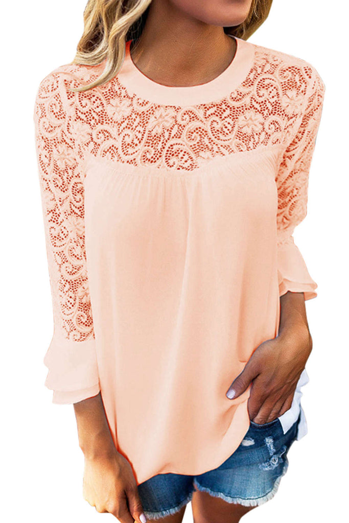 Iyasson Flutter Sleeve Lace T-shirt