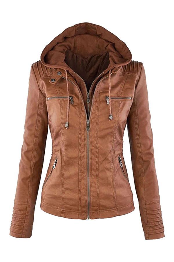 Iyasson Women's  Faux Leather Zip Up Hooded Jacket