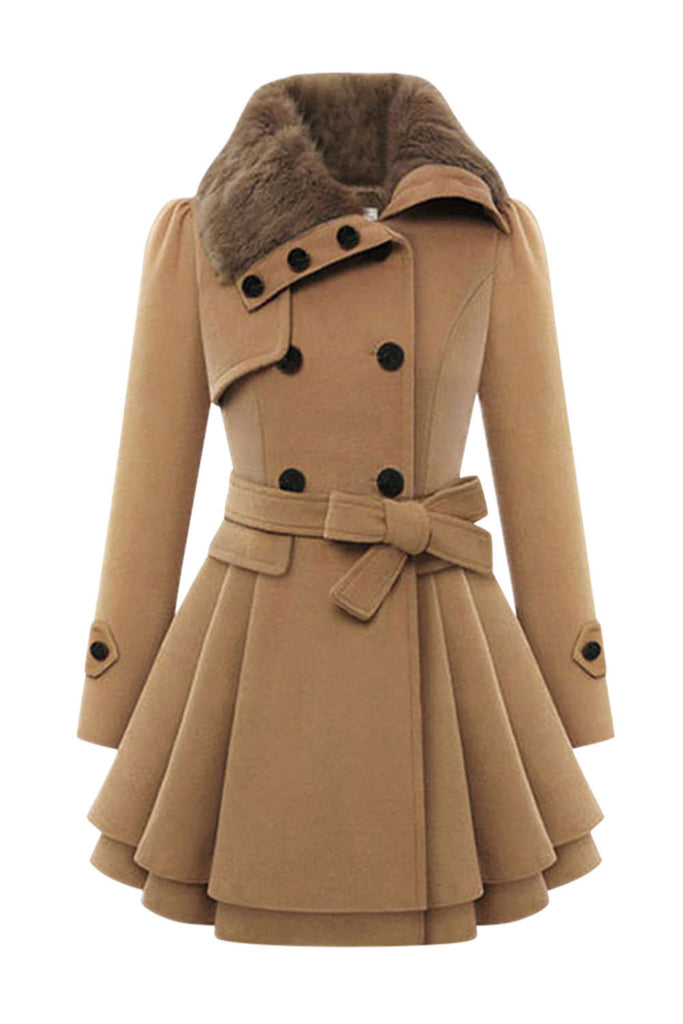 Iyasson Women's Double Breasted Blend Coat