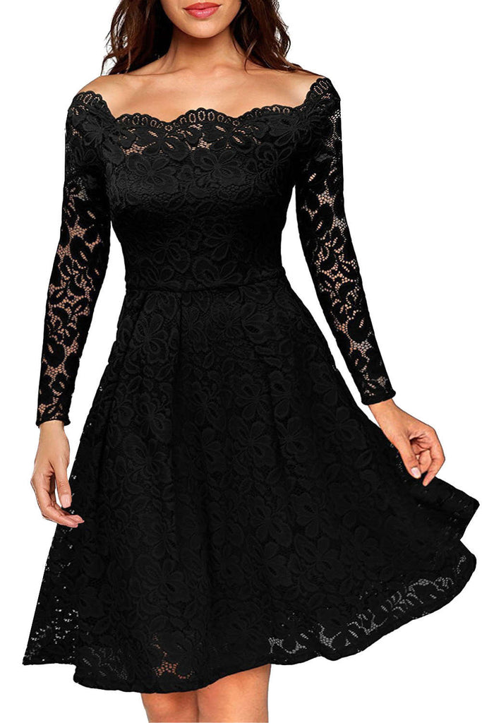 Iyasson Vintage Lace Off Shoulder Mini Dress