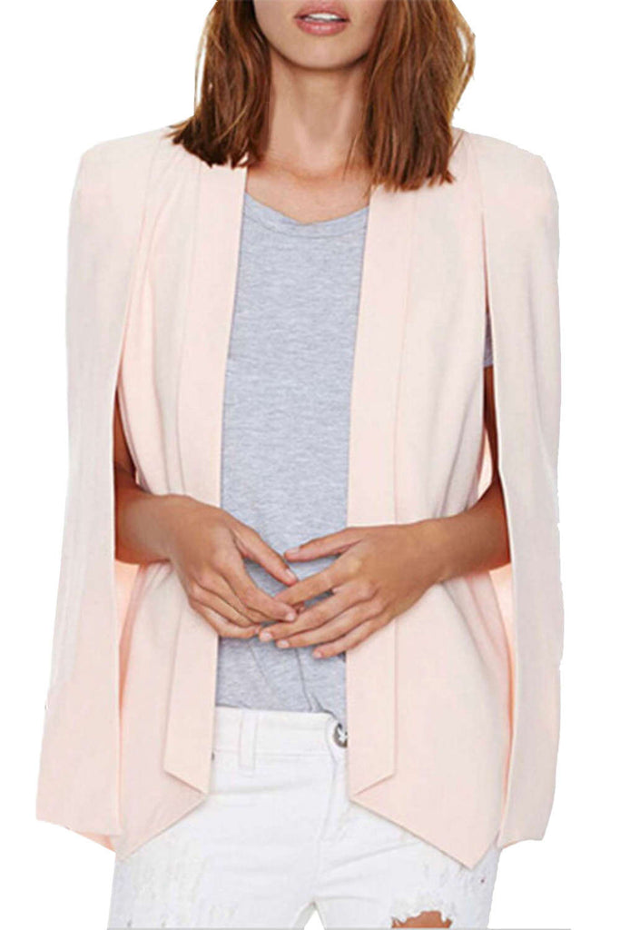 Iyasson Lapel Plain Cape Sleeve Blazers