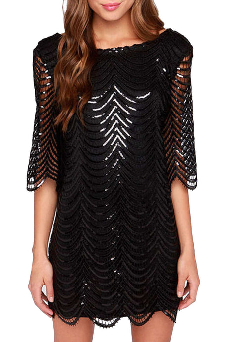 Iyasson Sequin Scallop Shift Dress