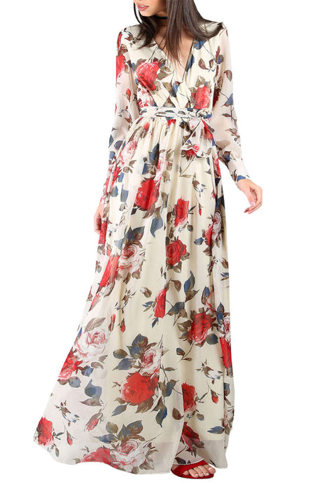 Iyasson Floral Printed V-Neck Long Sleeve Maxi Dress