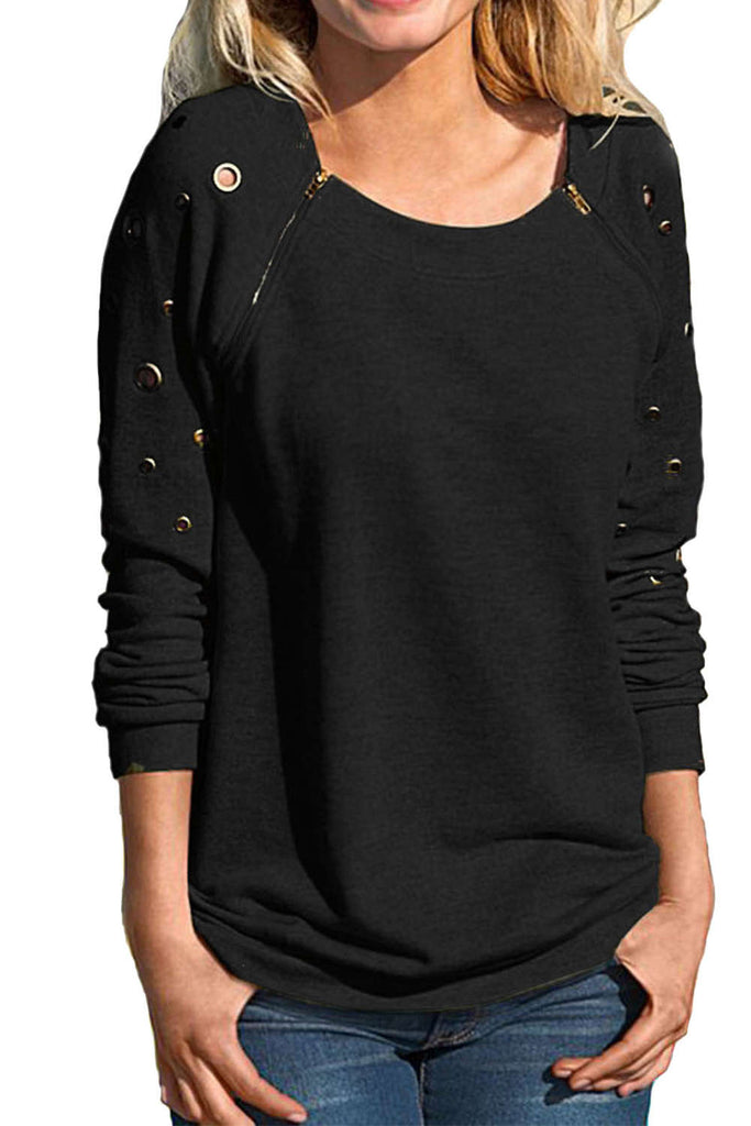 Iyasson Long Sleeve Eyelet Detail Sweatshirt